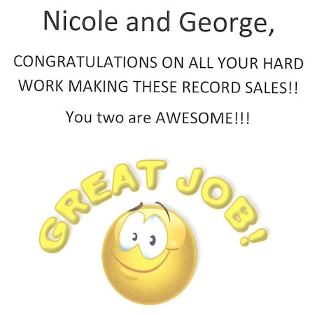 Congratulations image to Nicole and George